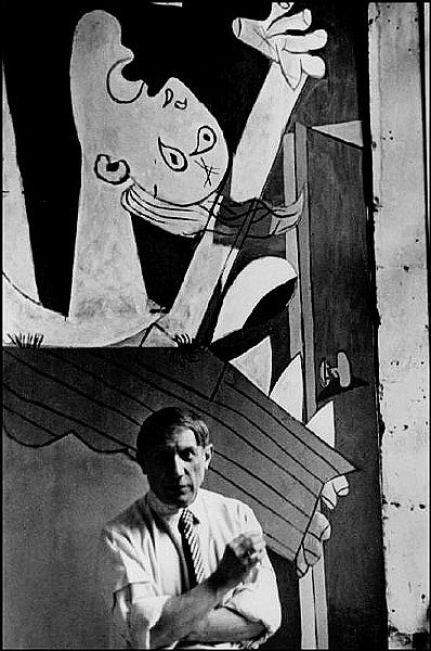 """Pablo Picasso in Front of """"Guernica,"""" 1937."""