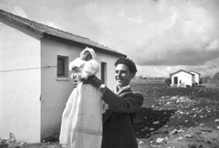 The first child born in the Italian immigrant settlement, Alma Israel, 1951