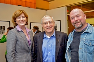 Dean Lucy Dalglish, Professor Ben Shneiderman and Art Gallery Director John Shipman.